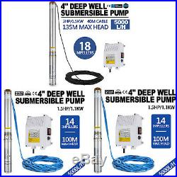 1.5/2 HP VEVOR 4 Borehole Deep Well Water Submersible Electric PUMP + cable