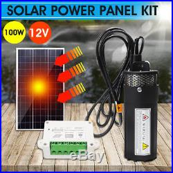 100W Solar Panel+12V Submersible Water Pump Deep Well +15A Charge Controller Kit
