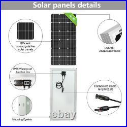100W Solar Panels Battery Controller Kit &12V Deep Well Water Pump f Garden/Farm