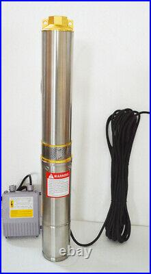 110V Submersible Deep Well Water Pump with Long 128ft Delivery 59ft Cable