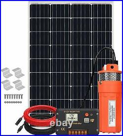 120W Deep Well Submersible Pump Kit, 12V Solar Water Pump with 120W Solar Panel