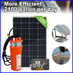 120W Solar Panel with 12V Deep Well Water Pump for Home Irrigation Ranch Farm
