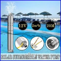 12V DC 2m³/H Solar Powered Water Pump Submersible Bore Hole Deep Well 20m