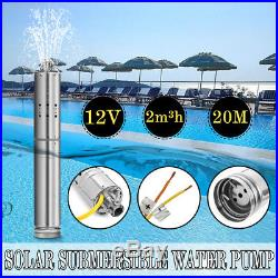 12V DC 2m³/H Solar Powered Water Pump Submersible Bore Hole Deep Well 20m Life
