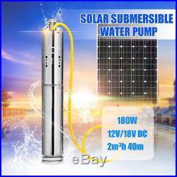 12V DC 2m3/H Solar Powered Water Pump Farm&Ranch Submersible Bore Hole Deep Well