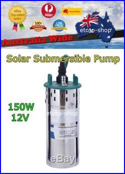 12V DC S. STEEL SUBMERSIBLE SOLAR BORE PUMP Off Grid Home Livestock Irrigation
