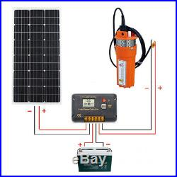 12V Submersible Deep Well Bore Water Pump+100W Solar Panel +Controller+Battery