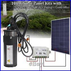 12V Well Water Pump +100W Solar Panel +Controller Submersible Irrigation Garden