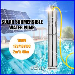180W DC 12V Solar Water Powered Submersible Bore Hole Pond Deep Well