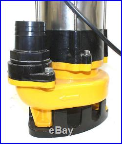 1HP Sewage Pump 4400GPH 110V Stainless Steel Submersible Water Pump Sump 30FT