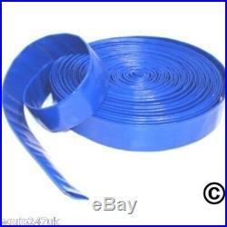 2 HOSE CLIPS +10M x 25mm BLUE LAYFLAT HOSE WATER PUMP SUBMERSIBLE PUMP HOSE