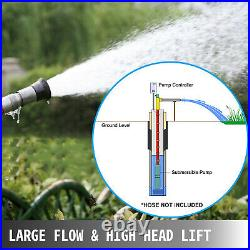 2 Submersible Borehole Deep Well Water Pump 0.5HP 30L/min 55m With Cable 14m