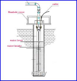 220-240V/50Hz Submersible Screw Water Pump Stainless Steel Borehole Pump UK Plug
