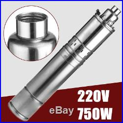 220V 750W Submersible Bore Deep Well Water Pump 75M Lift 4000L/H Stainless Steel