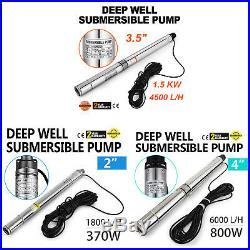 220v 370/800/1500w DEEP WELL PUMP BOREHOLE WATER SUBMERSIBLE GARDEN