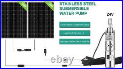 24V 3 Large Flow 250W Solar Water Pump, Stainless Steel Submersible Well Pump
