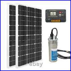 24V Deep Well Stainless DC Bore Water Pump+2 100W Solar Panel +20A Controller