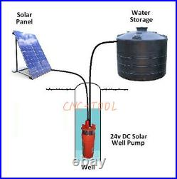 24V Farm&Ranch Solar Powered Submersible DC Water Well Pump 230FT/70m Lift