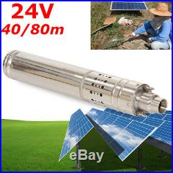 24V Solar Water Pump 80m Deep Well Submersible Pump Steel Machine Farm&Ranch