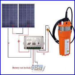 24V Submersible Pond Pump Water Pump & 2pcs 100W Poly Solar Panel for Farm Home