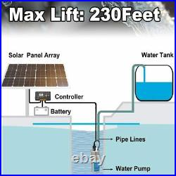 24V Submersible Solar Well Water Pump + 200W Solar Panel + 20A Charge Controller