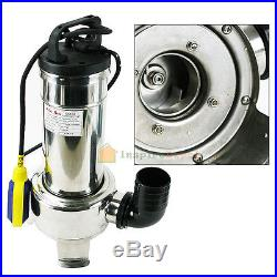 2HP 1500W Stainless Steel Sewage Pump 220V Submersible Sump Water Pool Portable