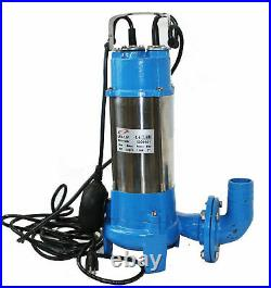 2HP Submersible Trash Sewage Ejector Drain Sump Water Pump Plumbing 136GPM 220V