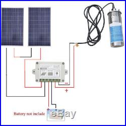 2PCS 100W Poly Solar Panel+24V Deep Well Submersible Water Pump+15A Controller