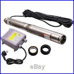 3 370W Submersible Electric Deep Well water Pump Stainless Steel + 39m Cable
