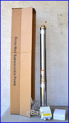 364 FT@11.14 GPM 4 SUBMERSIBLE SINGLE PHASE 240V 60Hz 2 HP DEEP WELL WATER PUMP