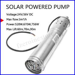 3m3/H 24V/36V DC Solar Water Pump 60M Deep Well Submersible Pump Bore Hole UK