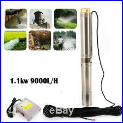 4 1.1kw 9000L/H Submersible Deep Well Borehole Water Pump 100% pure copper tube