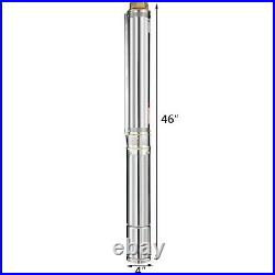 4 1.5KW 230V Deep Well Submersible Water Pump Stainless Steel With 40m Cable