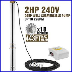 4-1.5kw Borehole Deep Well Water Submersible Electric PUMP + 40m cable Max 135M