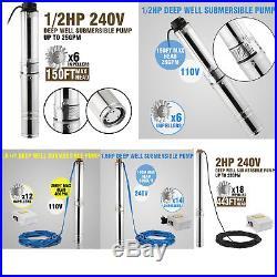 4 Borehole / Deep well pump 240V 0.37KWith1.1KWith1.5KW Submersible water pump