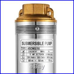 4 SDM 1HP Berehole Pump Deep Well Submersible Water Pump LONG LIVE + CABLE