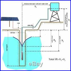 500W 24V 50M 3m3/H DC Brushless Solar Powered Water Pump Submersible Deep Well
