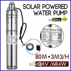 684W Solar Powered Water Pump Submersible DC 24v Stainless Steel Brushless Motor
