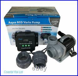 Aqua Eco Vario 22,000 Sine Wave Water Pump Koi Pond Uk Plug Unions Coastal Koi