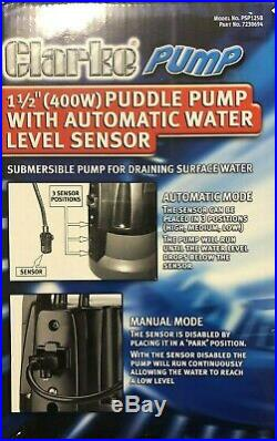 CLARKE SUBMERSIBLE PUDDLE PUMP FOR DRAINING SURFACE WATER PSP125B 4 m of 1 hose