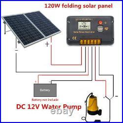 DC 12V Solar Powered Water Pump +120W Folding Solar Panel Garden Fountains Pump