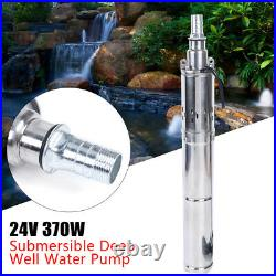 DC 24V 370W Solar Powered Water Pump Farm Ranch Submersible Bore Hole Deep Well