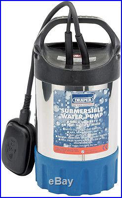 DRAPER 120L/Min 200W 230V Stainless Steel Body Submersible Water Pump with Float