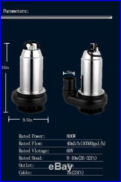 Deep Well Submersible Water Pump DC60V 800W 8791GPH 32FT Max Head for Farm Ranch