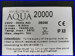 Evolution Aqua Perfect PRO 20,000 Submersible Pond Water Pump Garden Fish Koi