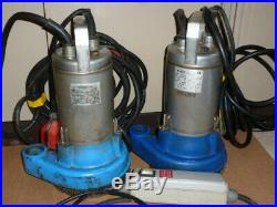 Flygt submersible water pumps STAM 15 and MINI 13 single phase 250 l/min