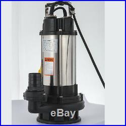 Heavy Duty 2200W 3HP Submersible Sewage Dirty Water Pump Float Switch 230V
