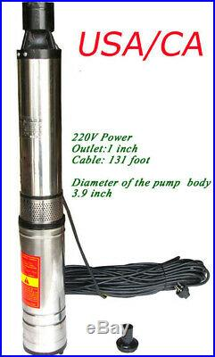 INTBUYING 1 1HP Deep Well Water Pump Submersible Stainless 131ft 8.9 GPM 220V