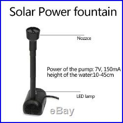 LED Solar Power Fountain Garden Pond Water Feature Pump Kit Panel Submersible