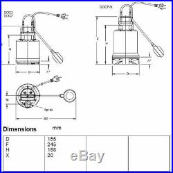 Lowara DOC3/A Drainage/ Dirty Water Pump with Floatswitch 240V